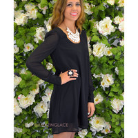 Cloud Nine Black Caged Back Shift Dress
