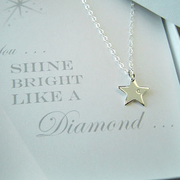 Star Diamond Necklace . Genuine Diamond . Sterling Silver . Birthday, Confirmation, Graduation, Bat Mitzva, Bridesmaid, Gift
