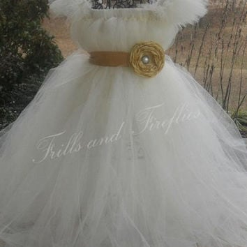 Ivory Tutu Dress with Marigold Flower Sash.. Great Flower Girl Dress, Party Dress, Costume,  Can be made in Other Colors