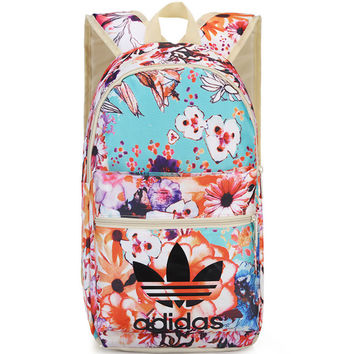 """Adidas"" Casual Sport Laptop Bag Shoulder School Bag Backpack Spell floral"