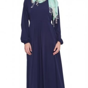 Olivia Navy Long Maxi Dress Abaya | abayas, kaftans, maxi dresses and long sleeve dresses for women | Islamic Dresses at Artizara.com