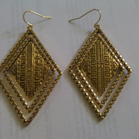 Gold Plated Dangle Layered Aztec Triangle by allthingswildandfree