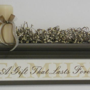 "Decorative 24"" Wall Shelf French Country Chocolate Brown with Sign - FAMILY - Is A Gift That Lasts Forever"