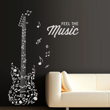 Wall Decal Vinyl Sticker Decals Art Decor Design Guitar Feel Notes Melody Electro Music Musicant Rock Star wings Bedroom Dorm gift (m1336)