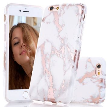 iPhone 6 6s Case, Shiny Rose Gold White Marble Design, BAISRKE Clear Bumper Matte TPU Soft Rubber Silicone Cover Phone Case for Apple iPhone 6 6s 4.7 inch