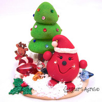 Parker Trims His Christmas Tree StoryBook Scene - Twelve Days of Christmas Polymer Clay Character Sculpted Figurine