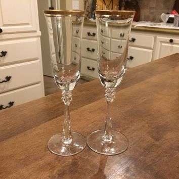 SET OF 2 - Mikasa Wheaton 8 7/8 Crystal Champagne Flutes Gold Rim Germany