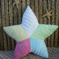 Multicolored minky starfish pillow ,nautical ,sealife, nursery pillow ,beachhouse pillow ,seaside cottage decor ,seaside decor