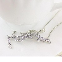 8DESS YSL Women Fashion Diamonds Necklace Jewelry