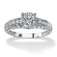 1.80 TCW Round Cubic Zirconia Engagement Anniversary Ring in 10k White Gold