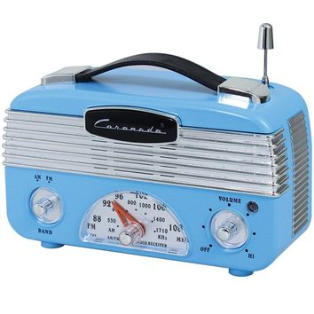 Coronado Retro Blue Vintage Style AM/FM Portable Radio