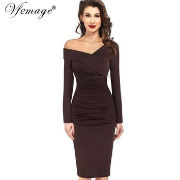 Vfemage Women Autumn Winter Elegant Vintage Sexy Off Shoulder V-neck Ruched Draped Work Party Cocktail Bodycon Sheath Dress 4390