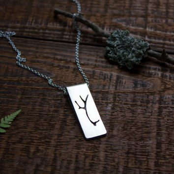 Antler necklace, Deer antler jewelry, Silver antler jewelry, Silhouette necklace, Long necklace, Woodland jewelry, Christmas jewelry