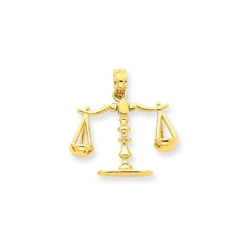 14k Yellow Gold 3-D Moveable Scales of Justice Pendant