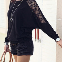 Batwing Long Sleeve Lace Hollow-Out Shoulder Sleeve T-shirt Women's Fall Fashion Blouse = 1946177348