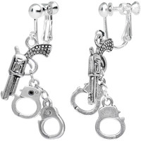 Handcrafted Crime Fighter Gun and Handcuffs Clip On Earrings