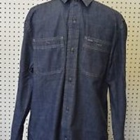 NEW blue DENIM flannel BUTTON UP guys AMERICAN EAGLE classic fit MENS large