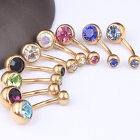 9pcs. mix color  double crystal Gold navel bar  body jewelry belly button ring belly piercing