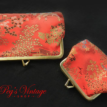 Vintage Red Silk Clutch Wallets/Coin Purse, Cosmetic Bags With Floral Embroidered Asian/Orential  Print Design//Set Of Two
