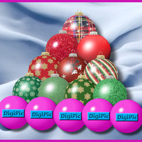 COMMERCIAL USE OK, 50 Digital Christmas Scrapbook Bauble Ornaments, Instant Download