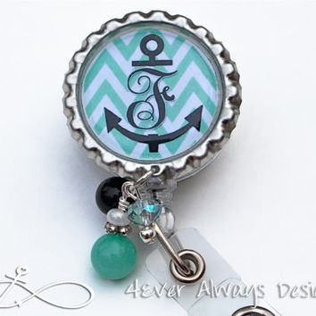 Nurse ID Badge Reel - Personalized Anchor Monogram Chevron