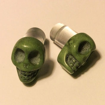 00g, 0g, 2g, 4g, 6g, 8g Green Carved Howlite Sugar Skull Plugs