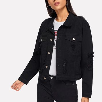 Pocket Patched Ripped Jacket