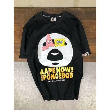 Aape Bape SpongeBob SquarePants Stylish Trending Summer Women Men Leisure Short Sleeve Round Collar Couple T-Shirt Pullover Top I-XMCP-YC