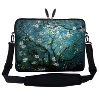 Meffort Inc® 15 15.6 inch Neoprene Laptop Sleeve Bag Carrying Case with Hidden Handle and Adjustable Shoulder Strap - Vincent van Gogh Almond Blossoming