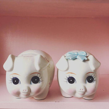 Little Lefton His & Hers Vintage Piggy Banks / Anthropomorphic / Kitsch Ceramics / Lefton Napco Enesco Napcoware / Made in Japan / 1950s