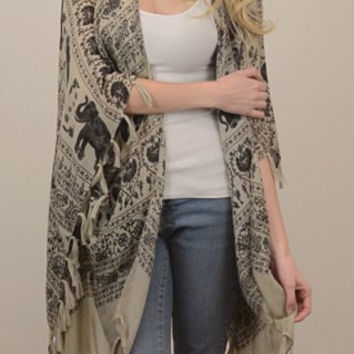 Elephant and Paisley Pattern Tasseled Kimono Scarf