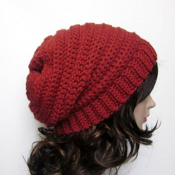 Cinnamon Red Slouchy Crochet Hat - Womens Slouch Beanie - Ladies Oversized Ribbed Cap - Chunky Hat