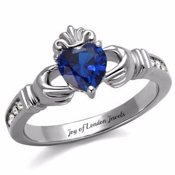 A Traditional Celtic Irish 1.8CT Heart Cut Blue Sapphire & Russian Lab Diamond Accent Promise Wedding Ring