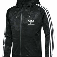 Adidas Long Sleeve Knit Printing Hoodies Coat With Hat