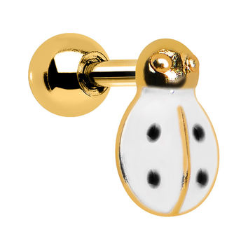 White and Black Polka Dots Gold Ladybug Cartilage Earring