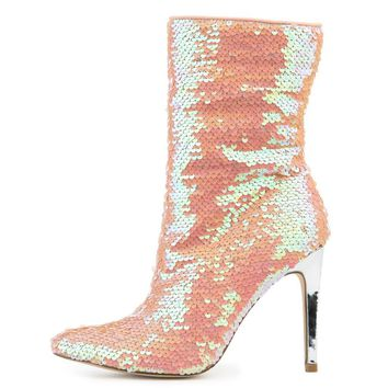 "Pink Sequin Pointy Toe Ankle Boot Full Side Zipper 4"" High Heels"