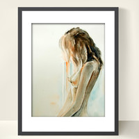 Woman Figure Watercolor Painting Art Print, Watercolor Nude Figurative Painting Art