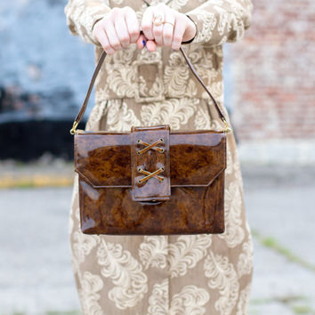 vintage 1950s handbag / 1960s handbag / 1950s purse / 1960s purse / vintage purse / brown purse / brown handbag / 50s purse / 60s purse