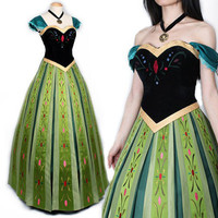 Luxury  Embroidery Adult Princess Anna Costume Women Anna Coronation Dress Customized Plus Size halloween costumes for women