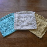 Hand Knit Yellow All Cotton Butterfly Baby Picture Wash Cloth