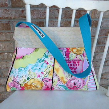 Cute Ecofriendly MERRY Patchwork Purse Quilted by RetroRehabShop