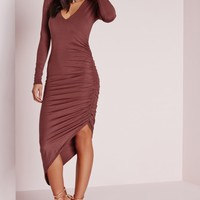 Missguided - Ruched Side Midi Dress Raspberry