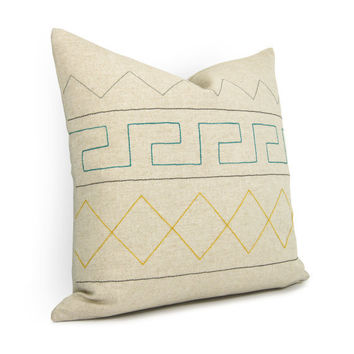 Aztec geometric pillow cover Teal green yellow by ClassicByNature
