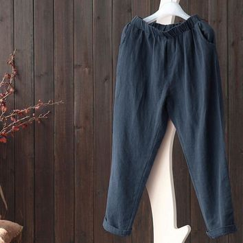 Plus Size 5XL Harem Pants Linen Vintage Big Size Vintage Trousers Women Streetwear Korean Style Pockets Loose Pants