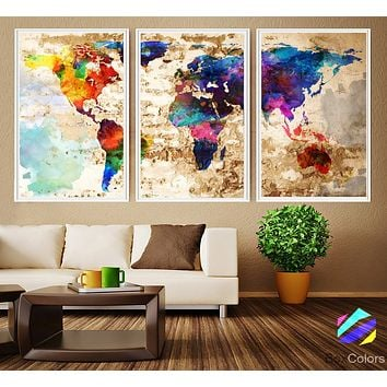 XL 3 Panels Poster World Map Abstract Art Print Photo Paper Watercolor old Wall Decor Home Office (frame is not included) FREE Shipping USA