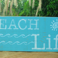 BEACH LIFE Distressed Wood Sign, Wall Gallery, Beach Home Decor, Mermaids, Beach Cottage Style, Beach Weddings, Gifts for Her, Housewarming