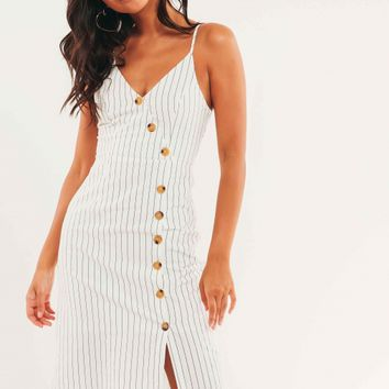 Noxon Dress - White Stripe