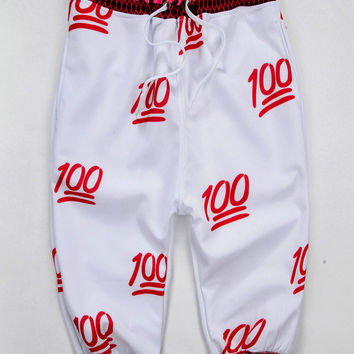 Red 100 Emoji 3D Print Joggers Shorts