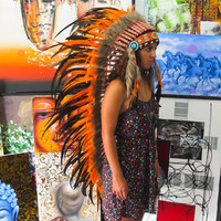 Real Feather Orange Chief Indian Headdress 135cm, Native American Costume Hand Made War Bonnet Hat