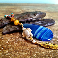 Boho Honu (turtle) pendant, blue agate turquoise hippie necklace